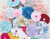 Fabric yo yo flowers, Mix yoyos, craft supply, make headbands embellishments, Wholesale yo yos roses, sewing applique, wholesale crafts