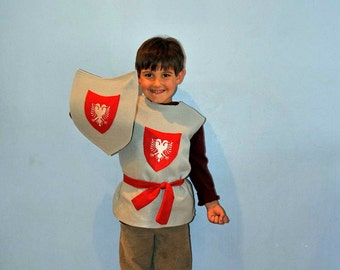 Gray and Red Knight Costume, Embroidered Knight and Shield...SALE..3t,4t,5t,6,7,8yrs.. Eco-friendly