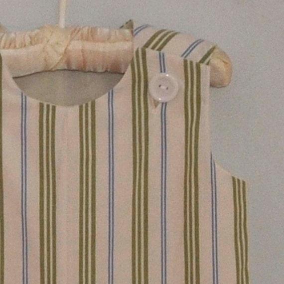 Boy's jon jon, shortalls, Blue and green stripe, great for weddings and dedications, eco-friendly size 3m,6m,9m,12m,18m,2t,3t