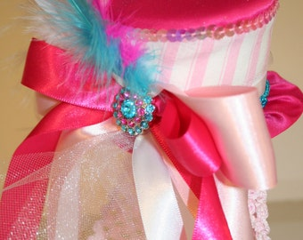 Circus Carnival Mini Top Hat Aqua, Pink and White Stripes, Sequins, Ribbons,Tulle, Feathers - Birthday, Ringmaster