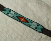 Four Feathers Native American Inspired Beaded Leather Bracelet