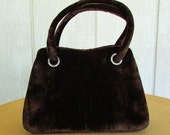 vintage 40s miss lewis brown velvet frame kelly satchel purse bag rhinestone grommets evening bag