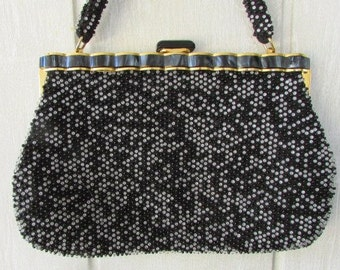 vintage 50s black clear gray beaded lucite frame satchel purse bag lucy rockabilly mad men lucite thumb flip knob