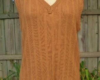 vintage 60s sweater vest v neck tan ribbed knit vest s m zayre mens preppy mad men nerdy guy