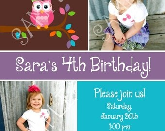 Custom photo Owl Party Birthday Invitations Boy or Girl