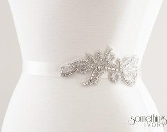 GINA - Rhinestone Beaded Bridal Sash, Wedding Belt