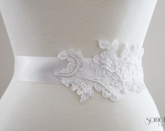AVERY - Bridal Sash with White Alencon Lace and Pearls