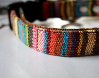 Colorful Striped Mexican Woven Dog Collar