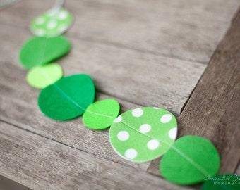 SALE St Patricks Day Irish Garland with Green Polka Dot Felt