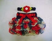 READY TO SHIP - 0 to 3 Month Size - Navy Blue, Red and Cream Ballerina Ruffled Skirt and Headband - Photo Prop
