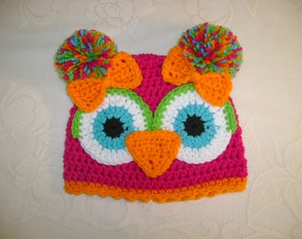 Bright Pink and Orange Crochet Owl Beanie - Available in Any Size or Color Combination