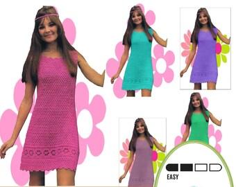 Instant Download VKNC120 Vintage 1960's Crochet Ladies Dress Pattern cool cotton summer dress