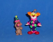 Polymer Clay Clown and Dog Set