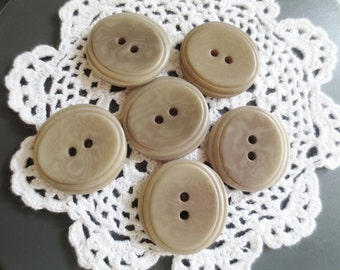 Large Taupe Buttons 29mm  2 Hole Set of 12 DIY Sewing Supplies