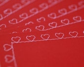 Valentine Stationery Set  6 Sewn Note Cards with Envelopes