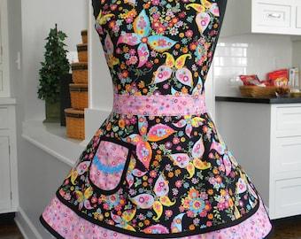 Womens Apron-LAST ONE-Urban Blooms & Butterflies Double Skirt Sweetheart Apron