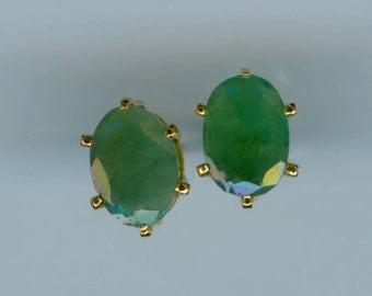 3 CT Genuine Emerald Stud Earrings 8MM x 6MM