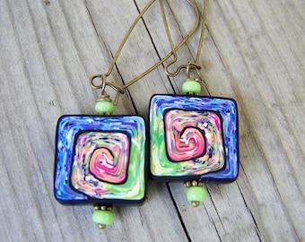 Polymer Clay Earrings Artisan Purple Green Swirls