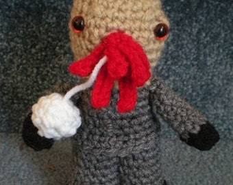 Made to order, Hand crocheted Dr. Who Doll like Ood Amigurumi Doll Alien