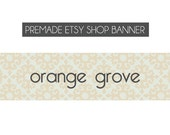 premade etsy shop banners - Orange Grove - custom, made to order - vintage, orange, green, typewriter, font