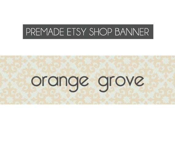 premade etsy shop banners - Orange Grove - custom, made to order - vintage, orange, green, typewriter, font