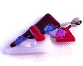 Dichroic Fused Glass Pendant Necklace Red White Avant Garde Series 233