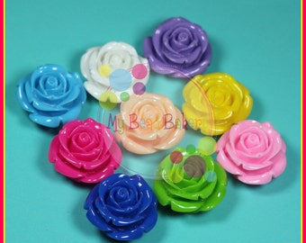 3 Pieces 34mm Resin Rose Flatback Beads DIY Crafts For Chunky Bead Necklaces and Bracelets You Pick Colors With HOLE