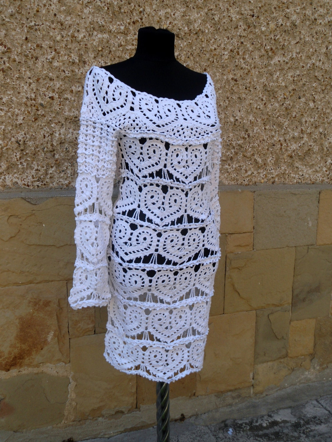 Crochet white dress wedding lace dress hearts pattern by for Crochet lace wedding dress pattern