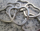 30mm x 32mm Solid Stainless Steel /Heart Shape Key Rings - KRHT-30