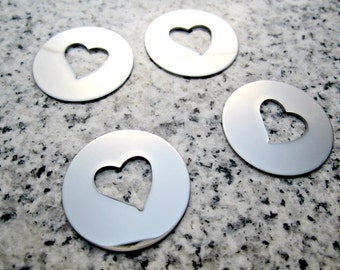 """1"""" (25mm) Round Tilted Heart Hole Washer Stamping Blanks, 22g Stainless Steel - AWESOME Silver Alternative HTRW08"""