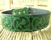 """Leather Dog Collar. 1 1 /4"""" Forest Green and Black  Embossed Curling Vine Collar."""