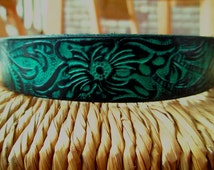 "Leather Dog Collar with Hibiscus Pattern.  1"" Wide Leather Dog in  Deep Turquoise and Black Embossed Design."