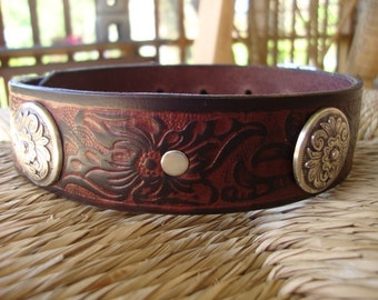 """Leather Dog Collar. 1 1/4""""Bridle Leather Diablo Concho Collar with Embossed Hibiscus Design."""