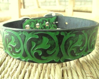 "Leather Dog Collar. 1 1 /4"" Forest Green and Black  Embossed Curling Vine Collar."