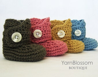 CROCHET PATTERN - Baby Button Boots - crochet booties baby shoes crochet pattern digital file instant download