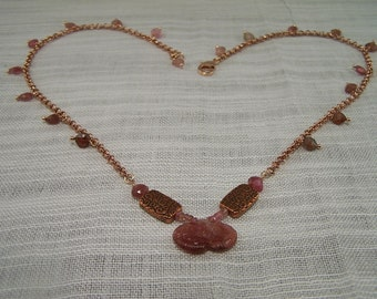 Carved Pink Tourmaline Pendant & Rose Goldfilled Rolo Chain Necklace 057FD