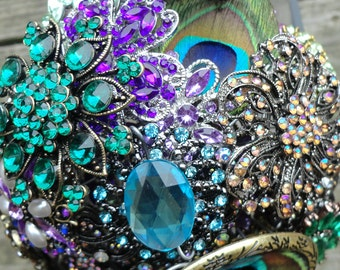 X-Large Peacock Brooch Bouquet - Blue, Purple, Green - Made to Order