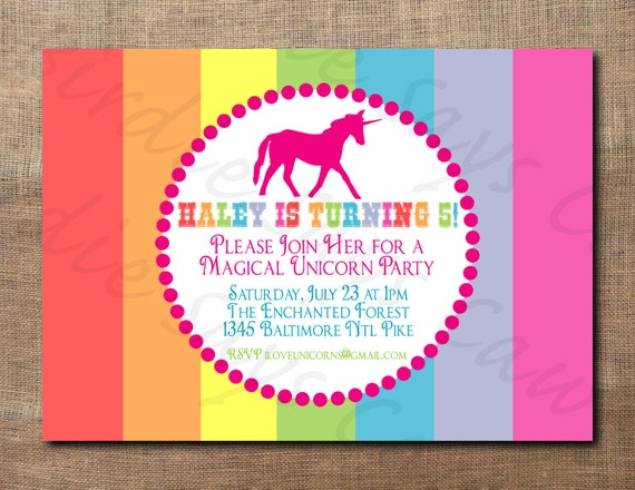 Unicorn Birthday Party Custom Printable Invitation – Unicorn Birthday Party Invitations