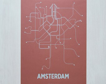 Amsterdam Screen Print - Red/Light Blue