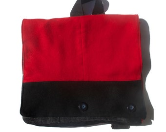 Red and Black Repurposed Wool Backpack