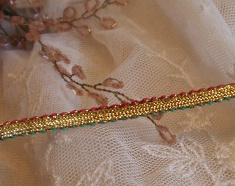 Vintage Gold Metallic - Red and Green Edging - Ribbon Trim, From India 8 1/2 yards