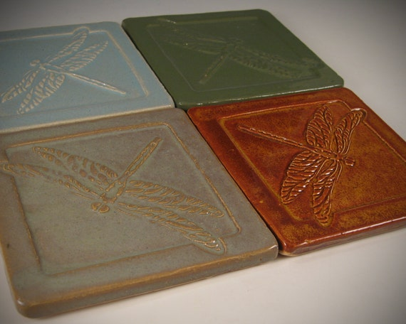 Arts and crafts mission style tile coasters set of by for Arts and crafts floor tile