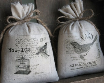 French Lavender Sachets, Shower Gifts, Woodland Birds, French Farmhouse, Set of Two