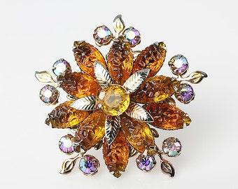 Amber rhinestone Brooch, Flower Brooch aurora borealis, Molded Glass Starburst Vintage Juliana jewelry