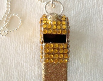 Yellow Rhinestone Covered Whistle Necklace