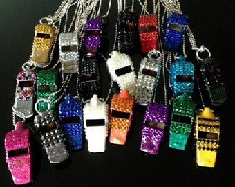 DESIGN YOUR OWN-- Rhinestone Covered Whistles