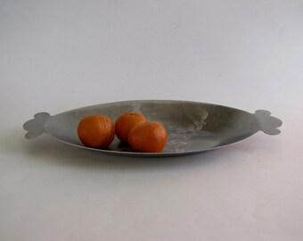 Vintage Hammered Aluminum Platter Dish Serving Tray
