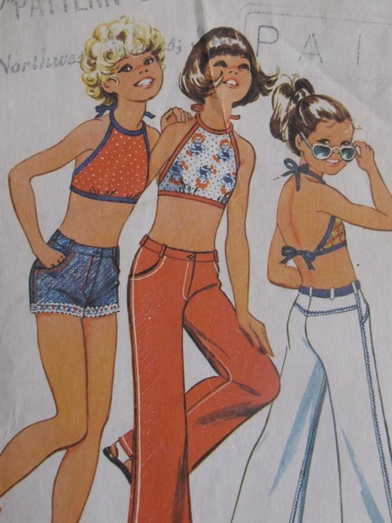 Vintage 1973 Girls Bell Bottom Hip Hugger Pants and Halter Top - Simplicity 5707 - size 8