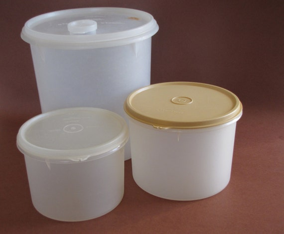 Vintage Tupperware Round Canister Storage Containers Set