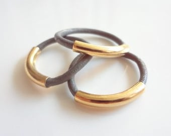 3 Stacked Grey Leather Rings, Gold Rings, Stacking, Stack, Band, Accesories, Handmade Jewelry, Jewellery, Unisex, Men, Women